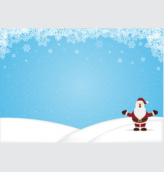 Santa claus standing snow hill christmas vector