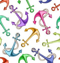 seamless pattern sea anchors vector image