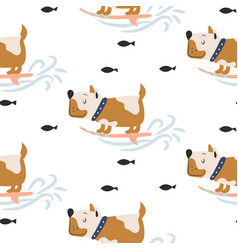 seamless pattern with cute dogs on surf background vector image