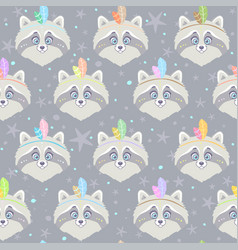 seamless raccoon gray vector image vector image