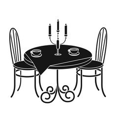 served table in the restaurant furniture single vector image