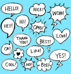 Set hand drawn comic bubble speech with text vector