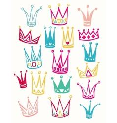 Set of cute cartoon crowns Hand drawing vector