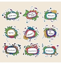 Set of nine cards with abstract hand drawn floral vector image