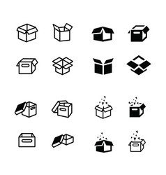 set of parcel box open box icons set vector image