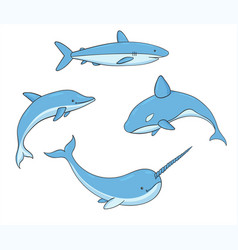 Set of underwater life with whale shark narwhal vector