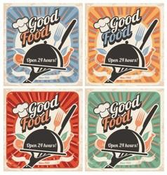 Set retro restaurant posters vector