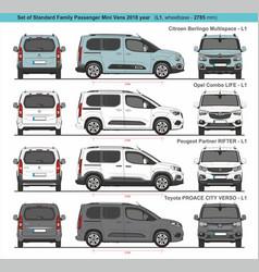 Set standard l1 family passenger mini vans 2018 vector
