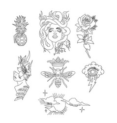 Set tattoo art black and white tattoo design e vector