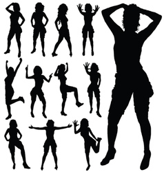 sexy girl posing black silhouette vector image