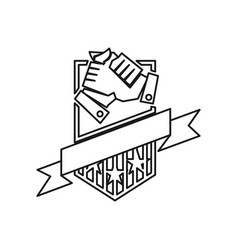 Shield secure hand commitment teamwork together vector