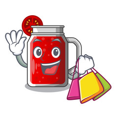 shopping sweet tomato juice in character glass vector image