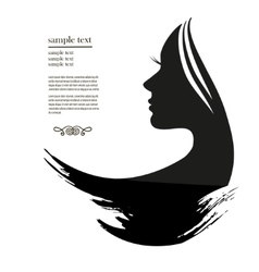 Silhouette of a young woman with long hair vector