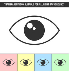 simple outline transparent eye icon on different vector image