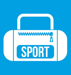 Sports bag icon white vector