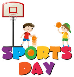 Sports day poster with boys playing basketball vector