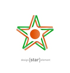 Star with flag of Niger colors and symbols design vector