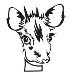 Stencil of die cutting baby deer head vector