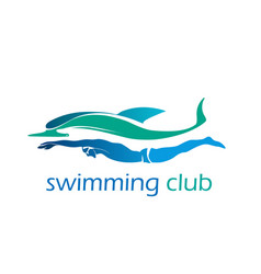 swimming club logo ocean sea color swimmer vector image
