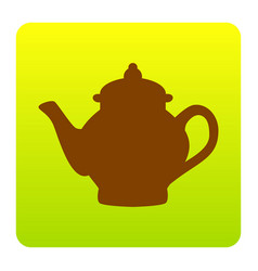 tea maker sign brown icon at green-yellow vector image