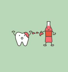 teeth is smudged from soda drink decay tooth vector image