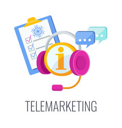 Telemarketing flat icon cold calling vector