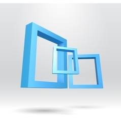 Three blue rectangular 3D frames vector image