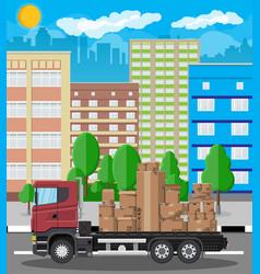 truck transporting brown cardboard package vector image vector image