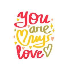 valentines day text you are my love vector image