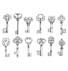Vintage keys sketches in engraving style vector image