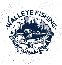 Vintage walleye fishing emblem and label vector