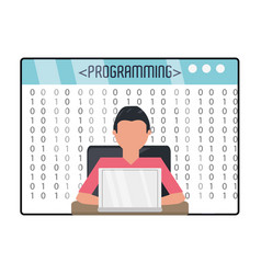 Web developer working on computer programming vector