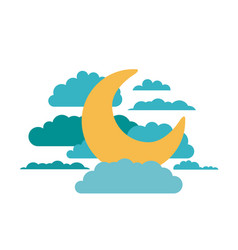 white background of moon in the sky with clouds vector image