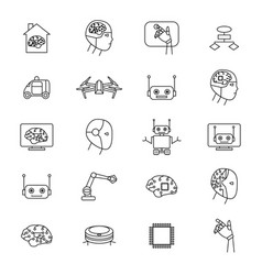 artificial intelligence signs black thin line icon vector image vector image