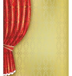 Golden background with red curtain and pattern vector image vector image