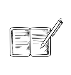 Open notebook with pen sketch image vector image