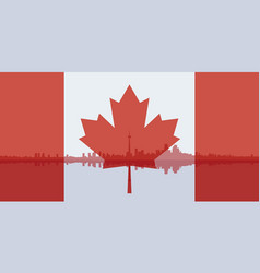 contour of toronto and the flag of canada vector image