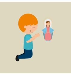 Cute boy blessed on bible desing icon vector