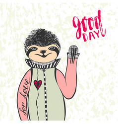Cute hand drawn sloth with handwriting lettering vector