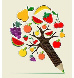 Healthy food concept pencil tree vector image