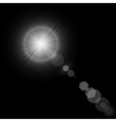 Summer sun with realistic lens flare lights and vector image