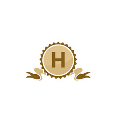 best quality ribbon letter h vector image