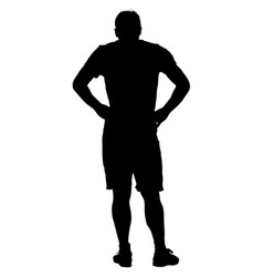 black silhouette man holding hands on his hips vector image vector image
