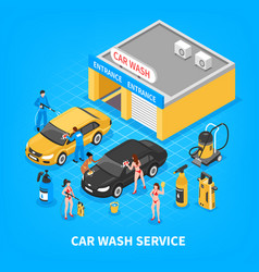 car wash service isometric vector image vector image