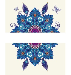 Card with peacock elements and butterflies vector image