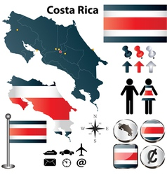 Costa Rica map vector image
