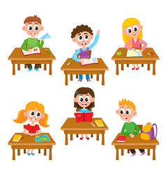 elementary school kids in classroom - reading vector image vector image