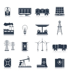 Energy icons black set vector image vector image