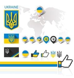 Flag emblem Ukraine and World map vector image