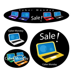 Mobile Computer on Cyber Monday Sale Background vector image vector image